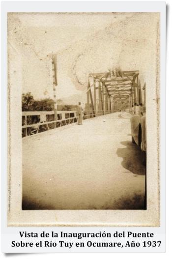 Vista de la Inauguración del Puente Sobre el Río Tuy en Ocumare, Año 1937
