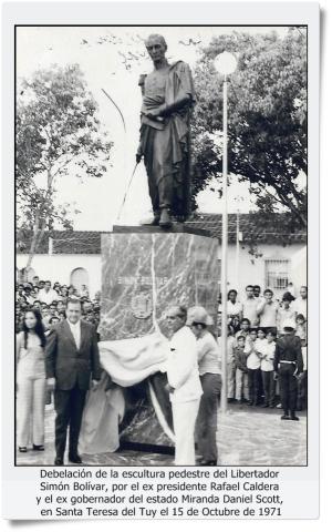 Debelación de la escultura pedestre del libertador Simón Bolívar en Santa Teresa del Tuy, 15 de Octubre de 1971