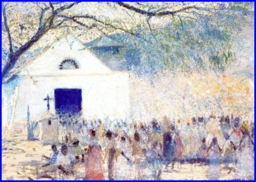Cruz de Mayo, obra de Armando Reverón, 1948, Pintura al agua, grafito y carboncillo sobre papel 83 x 96,9 cms