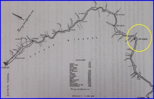 Mapa de la Linea del F. C. V, donde se muestra la ubicación de la Estación Santa Teresa